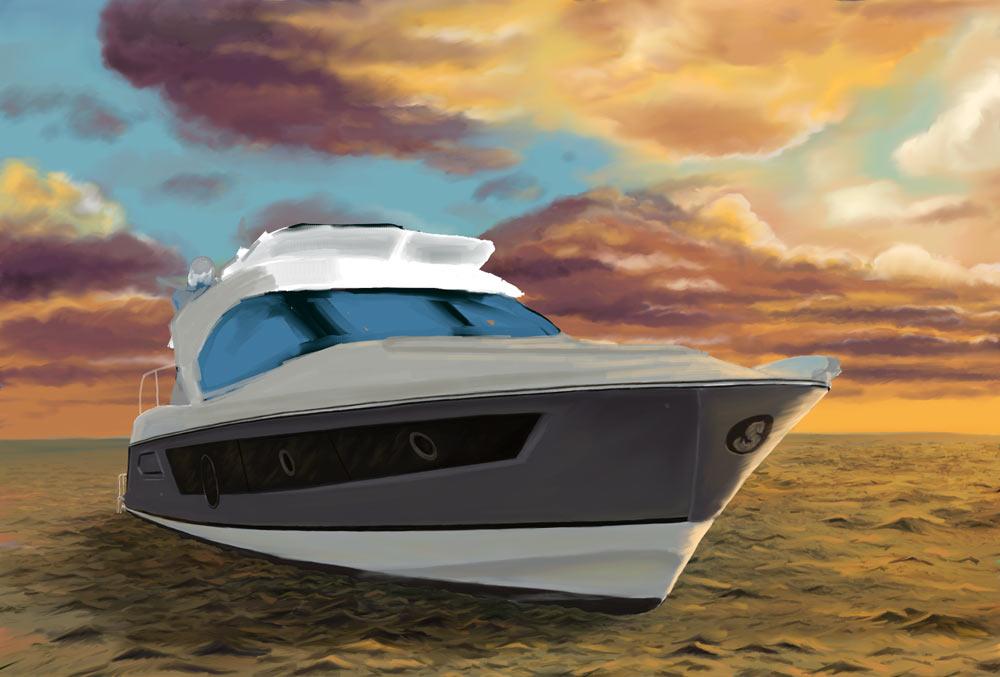 rozpracovaná loď, moře a pozadí