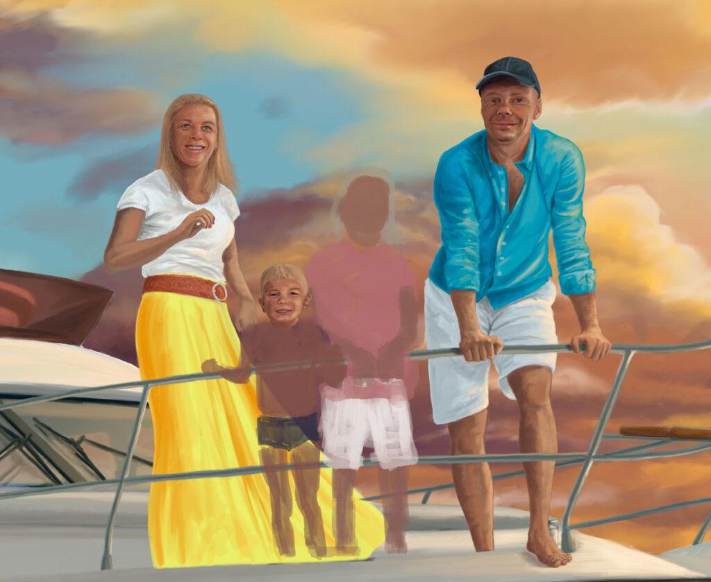 rozpracovaná malba rodina na lodi