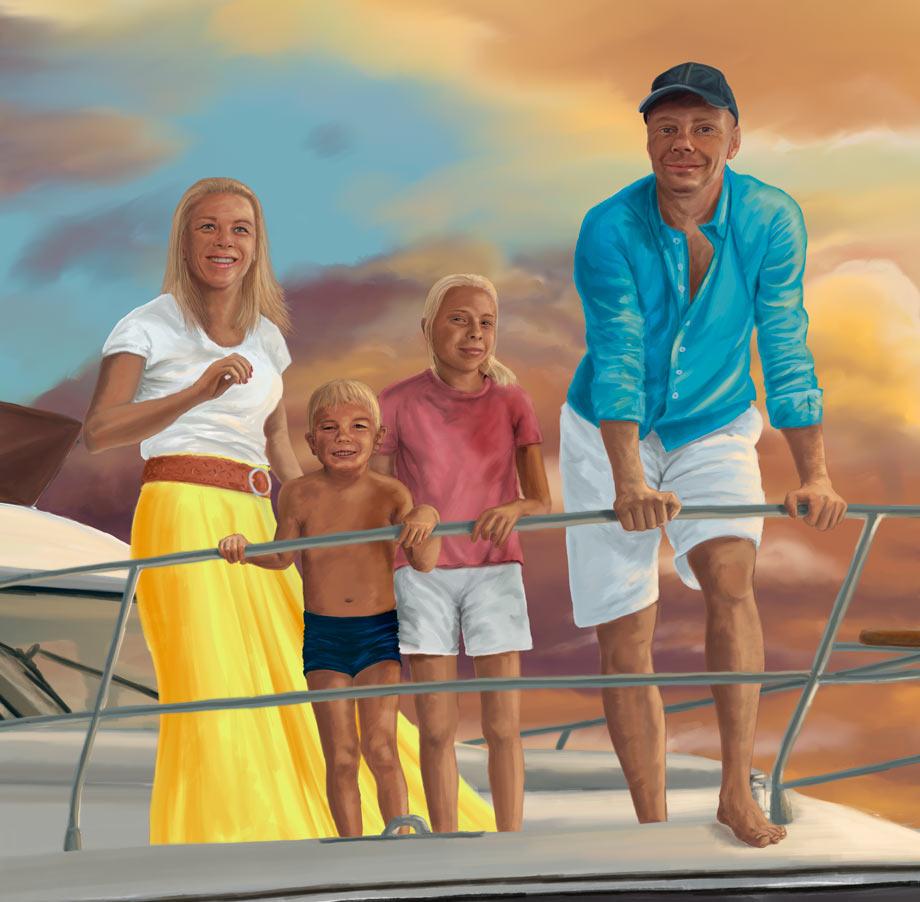 malba rodina na lodi