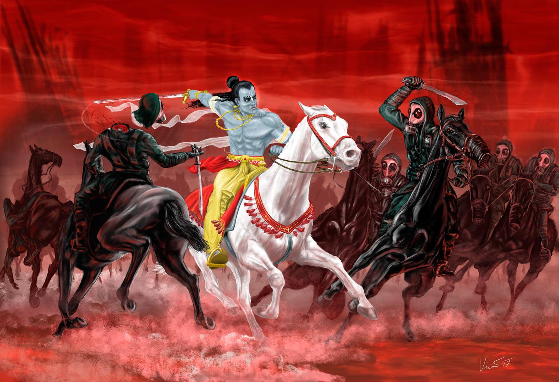 Obraz avatara Kalki - výjev ze staroindických Véd
