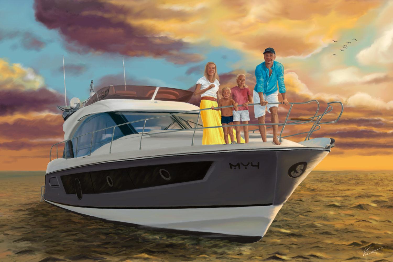 Obraz Rodina na motorové lodi