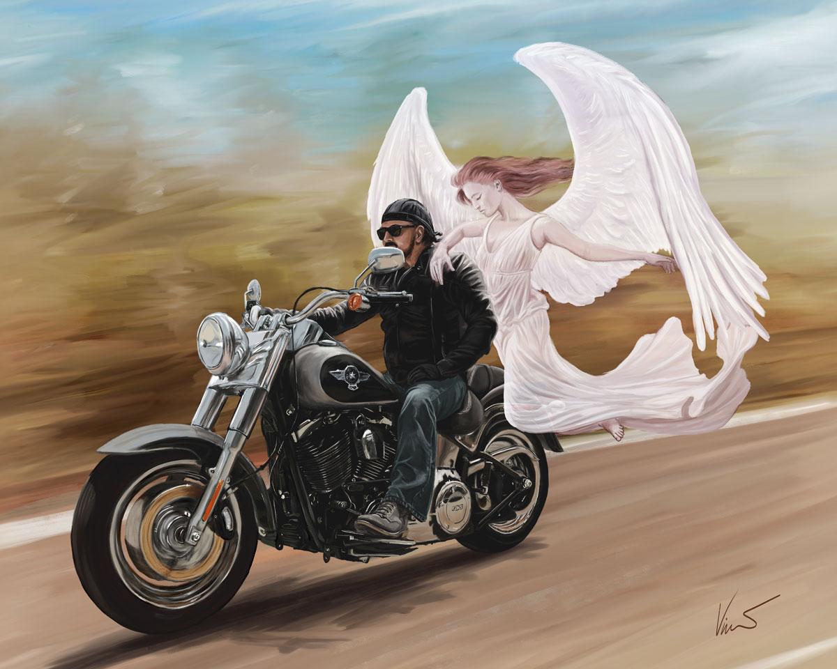 Motorkář s andělem