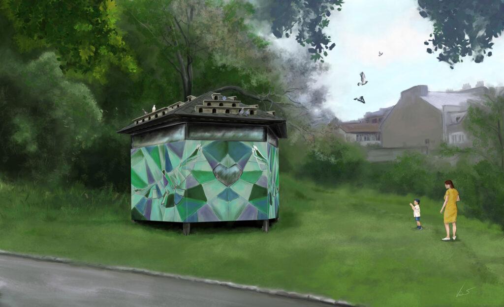 Vizualizace návrhu holubníku pro Prahu 3